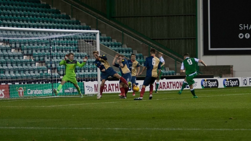 East Kilbride Reserves in action against Hibernian at Easter Road