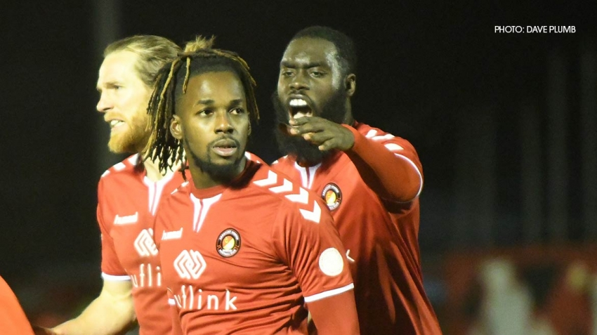 Tomi Adeloye, pictured after scoring for Ebbsfleet Utd.