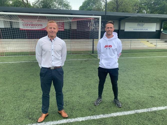 Manager Stephen Aitken and Chris Millar