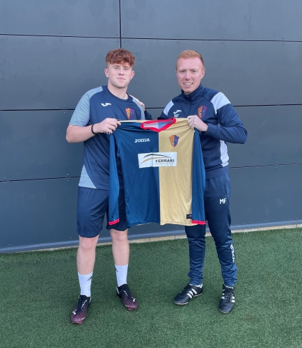 New signing Andy is pictured with Development Coach, Martin Fellowes.